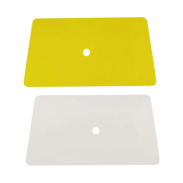 "6"" yellow and white hard card"